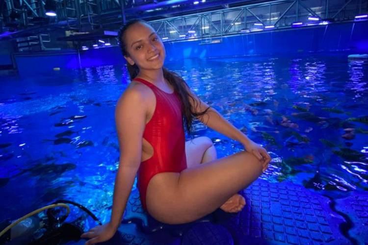 Gloriana Ramírez, nadadora venezolana en China. Foto: Cortesía