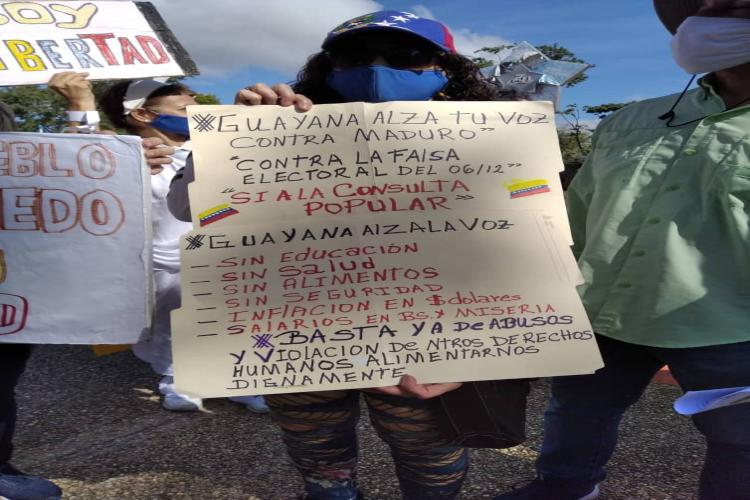 Manifestante Ciudad Guayana - Bolívar / Foto TAH