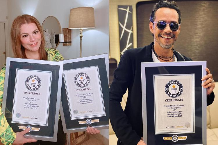 Olga Tañón y Marc Anthony reciben placa de Récord Guiness. Foto: Composición Todos Ahora